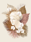 Tropical Venus marble head floral palm leaves, flower print. Goddess sculpture vector illustration. - 374156306