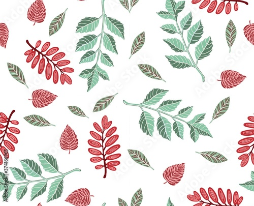 Stampa su Tela Autumn Leaves seamless pattern. High quality illustration