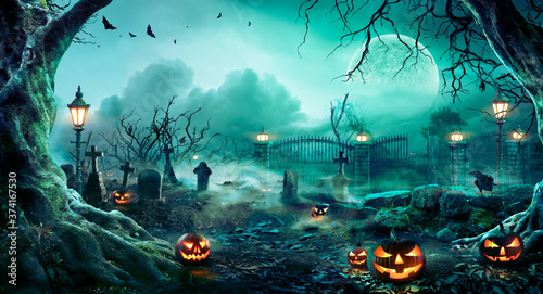 Jack O' Lanterns In Graveyard In The Spooky Night - Halloween Backdrop  - 374167530