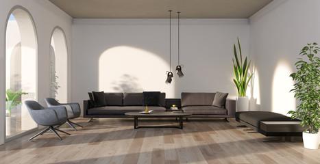 Obraz na płótnie Canvas Large luxury modern minimal bright interiors room mockup illustration 3D rendering