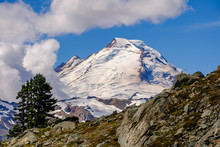 A Snow-capped Mt. Baker Looms Over The Herman Saddle Pass Hiking Trail