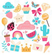 Cute Colorful Design Elements For Summertime And Celebrations In Pink, Blue And Yellow On White, Colored Vector Illustration