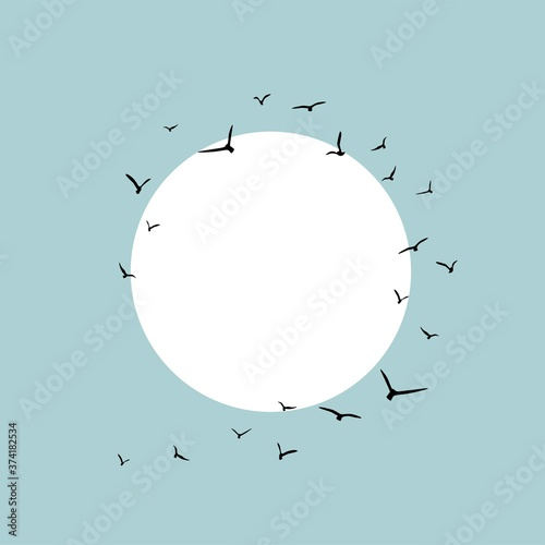 Fotografía Card frame with circle and flying birds Black swallows in the sky with white sun
