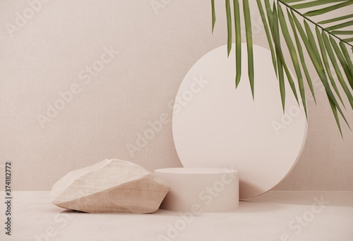Fényképezés Premium podium made of paper on pastel background with plant branches,leaves,pebbles and natural stones