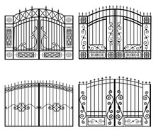 Silhouettes Of Gates Vector