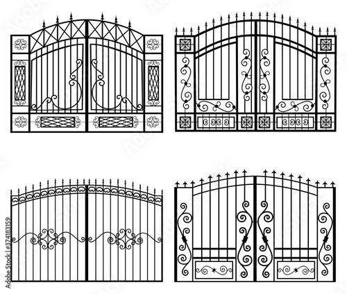 silhouettes of gates vector Canvas