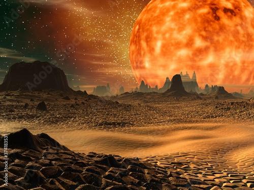 Fototapeta 3D illustration of science fiction landscape
