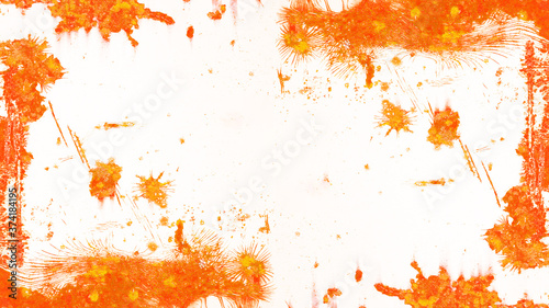 Fotografering Rust background - White painted abstract grunge weathered rustic orange brown ru