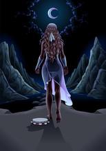 Beautiful Girl Walking Alone In The Night. Vector Fantasy Illustration