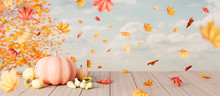Autumn Seasonal Background With Falling Leaves And Pumpkins On Wooden Plank 3d Render 3d Illustration