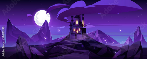 Fotomural Magic castle at night on mountain, fairytale palace with turrets and rocky road under purple sky with full moon and clouds in sky