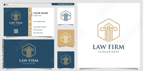 Canvas Print Law firm logo with line art style and business card design template Premium Vect