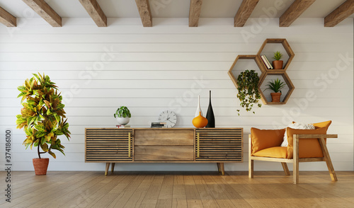 Modern interior design of living room with wooden furniture and rafter ceiling, 3d rendering