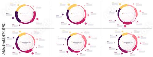 Fototapeta Vector circle chart designs, modern templates for creating infographics, presentations, reports, visualizations obraz