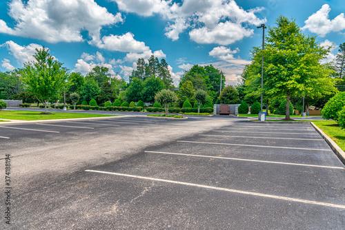 Fototapeta Empty Business Parking Lot During Pandemic