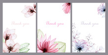 Set Of Watercolor Frames With Transparent Flowers. Delicate Vintage Design With Watercolor Lotus Flowers, Roses. Design For Wedding, Postcards, Greetings Invitations