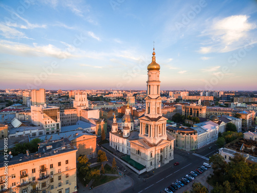 Canvastavla evening aerial view to Holy Dormition Cathedral in Kharkiv