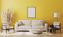 Blank Picture Frame Mock Up In Yellow Room Interior , 3d Rendering