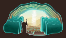 Moses Opens The Red Sea. Paper Art. Abstract, Illustration, Minimalism.