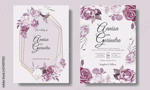 Beautiful floral frame wedding invitation card template Premium Vector