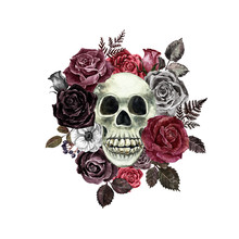 Floral Skull Watercolor Illustration. Dead Men And Red, Black Roses Hand Painted Graphic. Halloween Themed Design. Victorian Goth Style Painting.