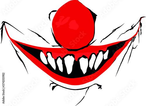 Fotografering Evil clown / Creepy clown or horror clown, clown horror smiley face