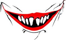 Evil Clown / Creepy Clown Or Horror Clown, Clown Horror Smiley Face. Clown Mouth, Joker Smile For Hallowen. Horror Creepy Smile Illustration.