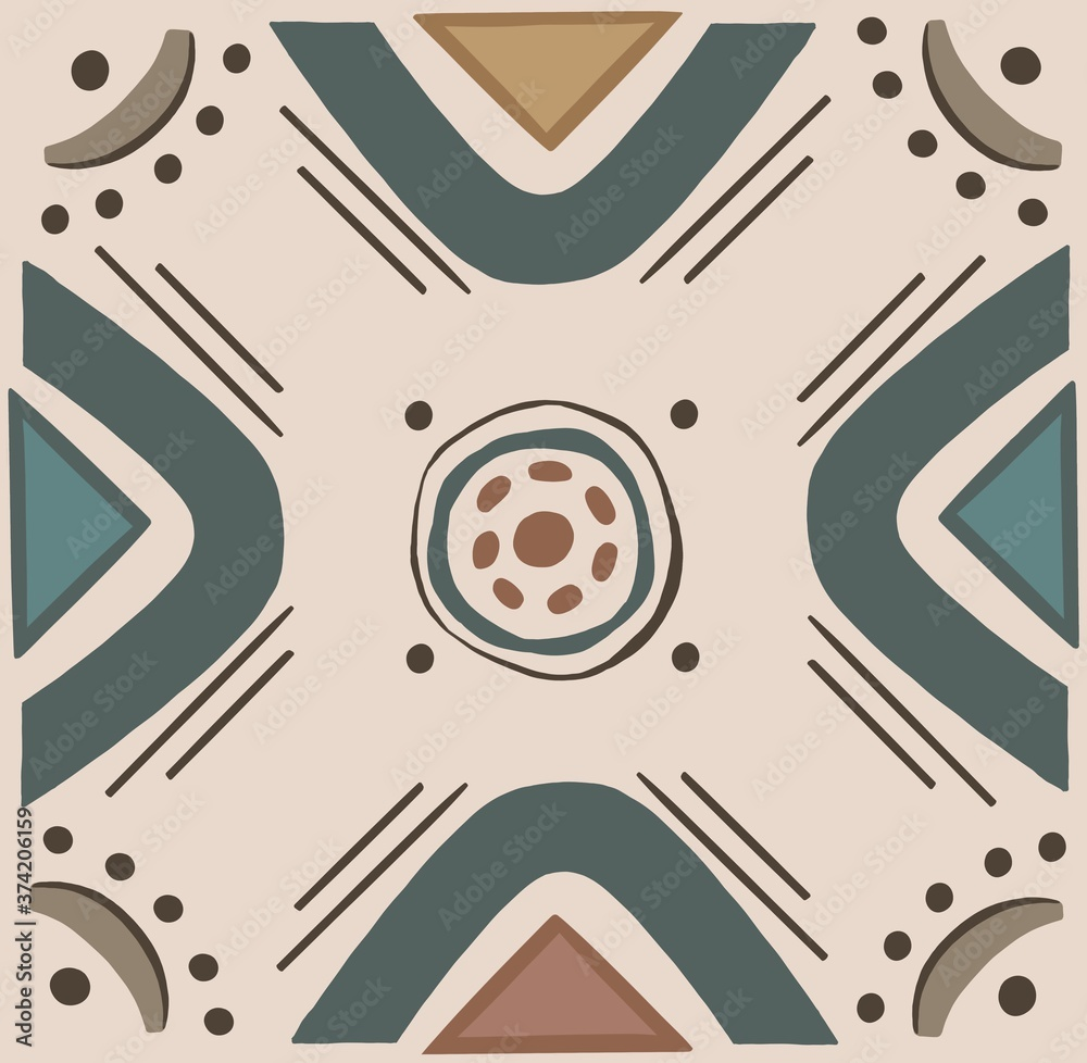 Fototapeta pattern ethnic motifs geometric seamless background. geometric shapes sprites tribal motifs clothing fabric textile print traditional design with triangles.High quality illustration