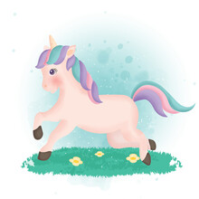 Cute Cartoon Unicorn Character...