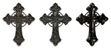 3D Illustration - Old Forged Metal Cross Props On White Background - Three Different Textured And Colored Images As A Set
