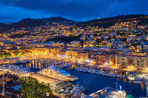Fototapeta View of Old Port of Nice with luxury yacht boats from Castle Hill, France, Ville