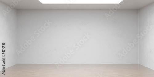 Obraz na plátně Empty white wall and wooden floor copy space background 3d render illustration