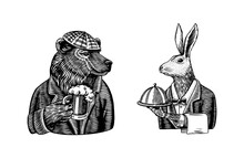 Grizzly Bear With A Beer Mug. Hare Waiter. Brewer With A Glass Cup. Fashion Animal Character. Rabbit Flunky Or Garcon. Hand Drawn Sketch. Vector Engraved Illustration For Logo And Tattoo Or T-shirts.
