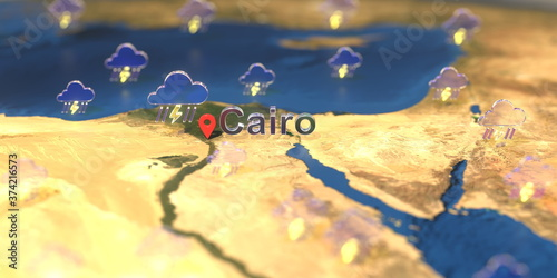 Fotografija Stormy weather icons near Cairo city on the map, weather forecast related 3D ren