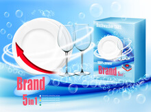 Stack Of Clean Plates And Two Glasses  In Soap Foam And Bubblies And Packing With Dishwasher Detergent Tabs. Realistic Dishware  For Dishwashing Detergent Advertising Design. Vector