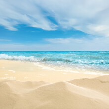 Ocean Waves Rolling On Sandy B...