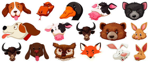 Set of different cute cartoon animals head huge isolated on white background