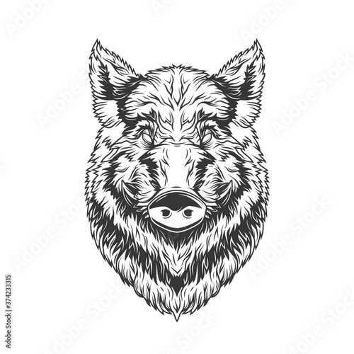 Stampa su Tela Original monochrome vector illustration of a boar's head in vintage style