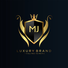 MJ Letter Initial With Royal Template.elegant With Crown Logo Vector, Creative Lettering Logo Vector Illustration.