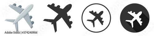 Tela airplane icon symbol vector illustration set