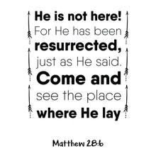 He Is Not Here! For He Has Been Resurrected, Just As He Said. Bible Verse Quote