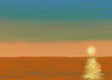 海辺で見る夕日
