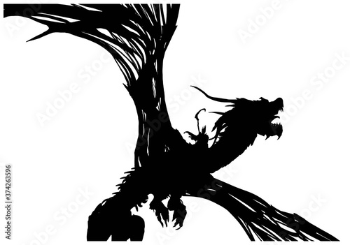 Fotografiet The silhouette of a dead dragon with huge wings, horns sticking out sharp bones of the spine, on its back a rider with a scythe