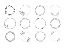 Hand Drawn Floral Frames. Vector Wedding Design. Ornate Wreaths With Leaves And Flowers.