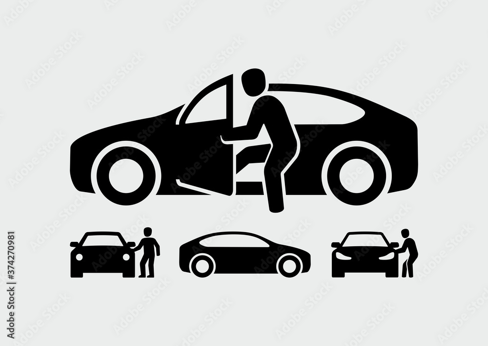 Fototapeta Man opening car door vector icon