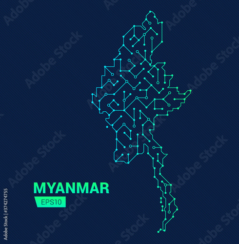 Fotografie, Obraz Abstract futuristic map of Myanmar
