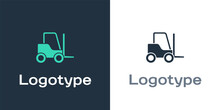 Logotype Forklift Truck Icon Isolated On White Background. Fork Loader And Cardboard Box. Cargo Delivery, Shipping, Transportation. Logo Design Template Element. Vector Illustration.
