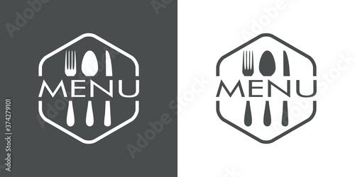 Photo Logotipo lineal palabra Menu con cubiertos en hexágono en fondo gris y fondo bla