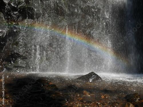 Chute d'eau avec un arc en ciel Canvas Print