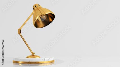 Obraz na plátně Golden lamp on luxury white marble pedestal 3d rendering